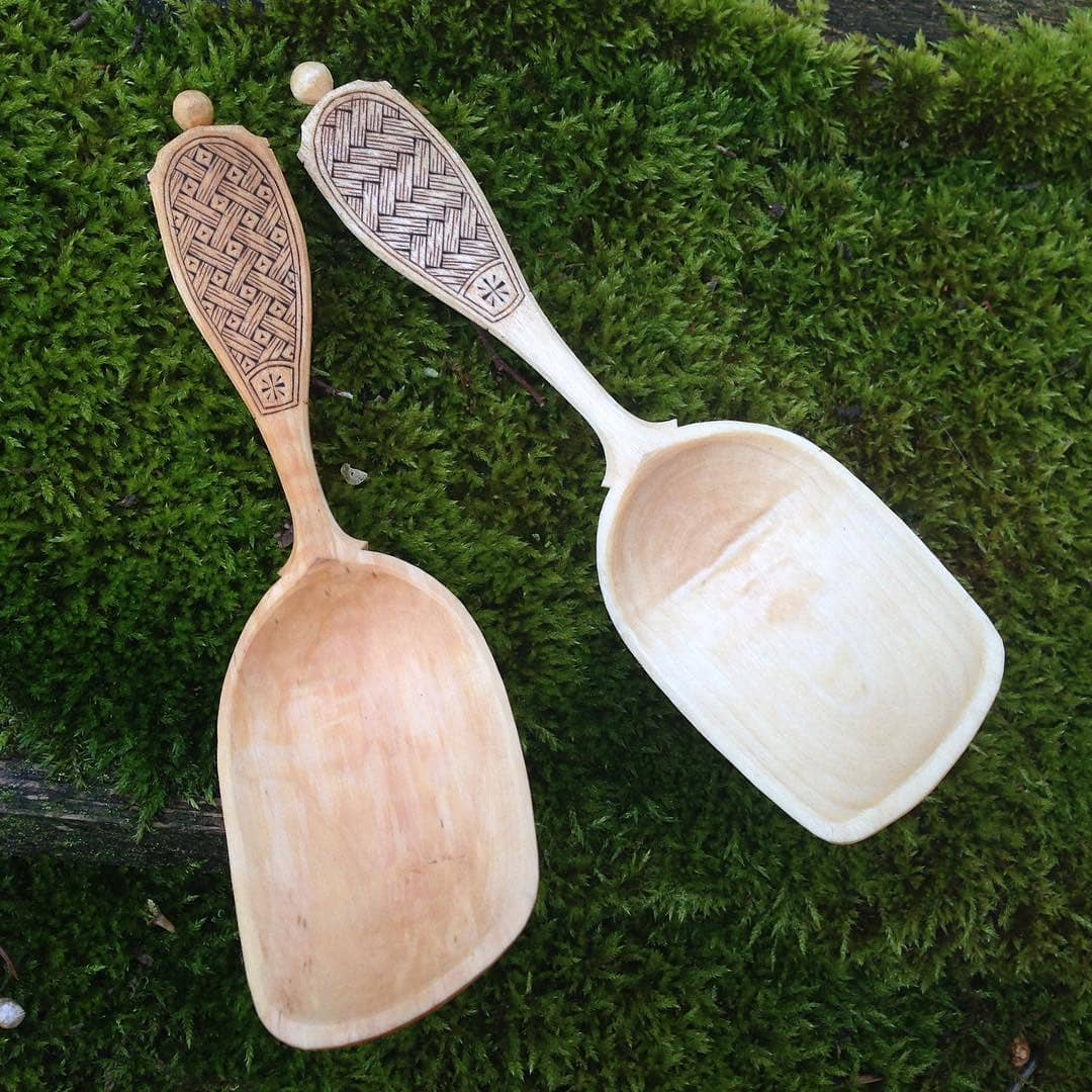 Zelkova eating spoon with chip carving livius crafts